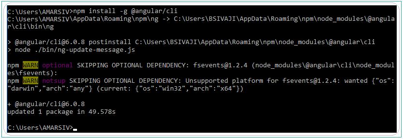 Angular CLI installation