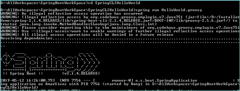 Spring Boot CLI Hello world example